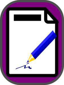 Purple Clipboard With Blue Pencil Clip Art