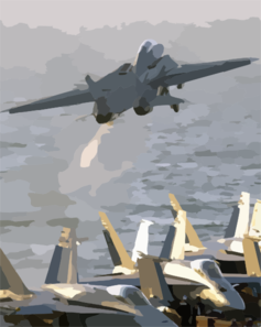 An F-14b Tomcat Assigned To The Red Rippers Of Fighter Squadron One One (vf-11) Launches Off The Flight Deck Of Uss George Washington (cvn 73) During Evening Flight Operations. Clip Art