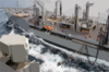 Usns Rappahannock (t-ao 204) Guides Over Hoses To Transfer Fuel To Kitty Hawk During A Replenishment At Sea (ras). Clip Art