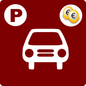 Hotel Icon Has Parking (pay-parking) Clip Art - Red/white Clip Art