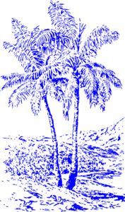 Blue Palm Trees Clip Art