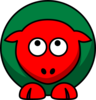 Sheep Red Two Toned Looking Up Clip Art
