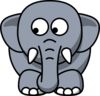Elephant Looking Left-down Clip Art