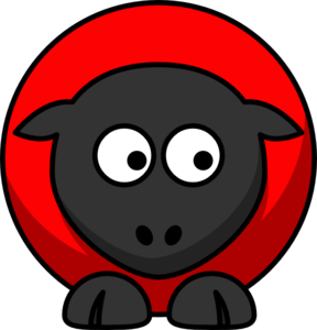 Sheep - Red On Red On Black Eyes To Down Right Clip Art