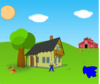Farm Background With Lake Clip Art