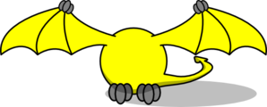Yellow Pterodactyl Body Only Clip Art