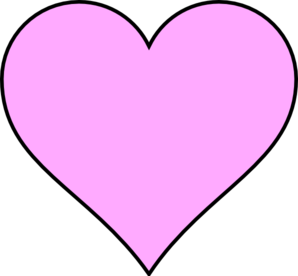 Pink Heart Outline In Black Clip Art
