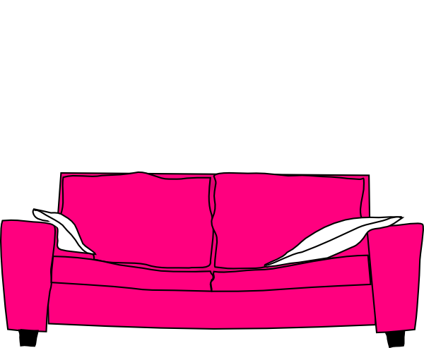 Pink couch with pillows clip art at vector for Sofa clipart