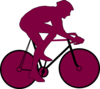 Purple Cyclist Icon Clip Art