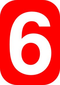 Number Six In Red Clip Art