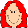 Red Hair Female Cartoon Face Clip Art
