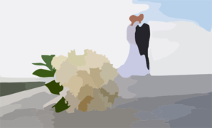 Bride And Groom With Flowers Powerpoint Backgrounds Clip Art