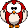 Owl - Red & Champagne Clip Art