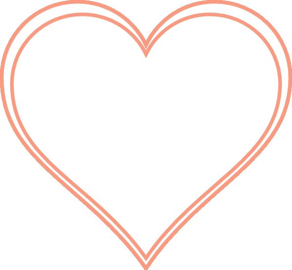 Double Outline Heart Peach Clip Art at Clker.com - vector ...