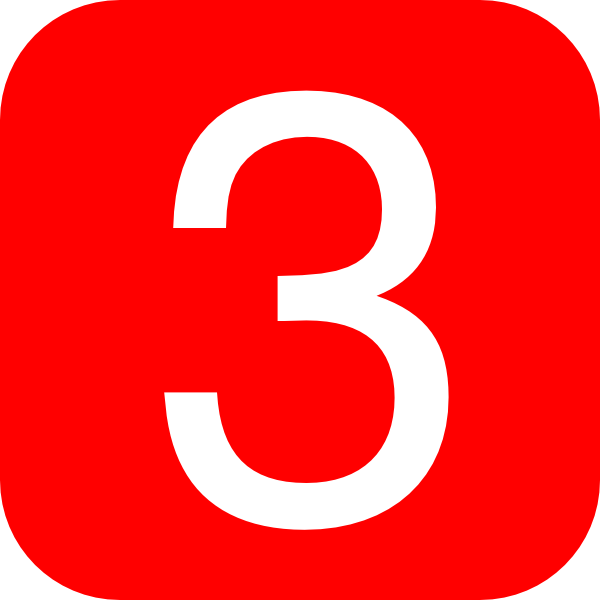 Red, Rounded, Square With Number 3 Clip Art at Clker.com ...