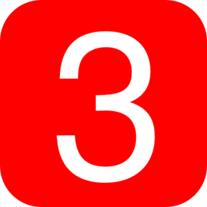 Red, Rounded, Square With Number 3 Clip Art