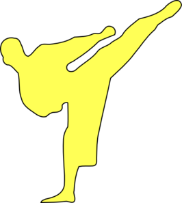 Yellow Karate Kicker Clip Art