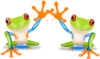 Two Frogs Waving Clip Art