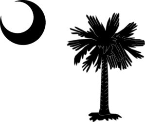South Carolina State Flag Palmetto And Crescent Moon In Black Clip Art