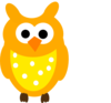 Orange Owl And Dots Clip Art