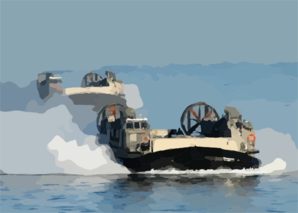 Landing Craft Air Cushion (lcac) Craft Approach The Amphibious Assault Ship Uss Kearsarge (lhd 3) Clip Art