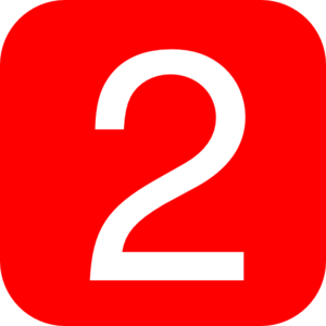 Red, Rounded, Square With Number 2 Clip Art
