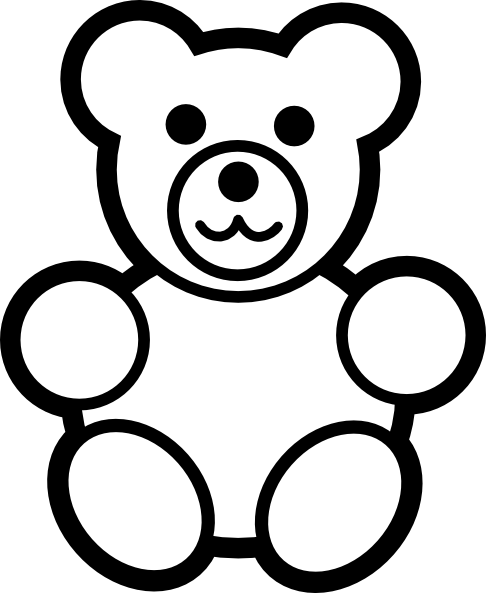 Circle Teddy Bear Black And White Clip Art at Clker.com - vector ...