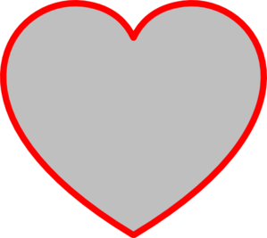 Gray Heart With Red Outline Clip Art