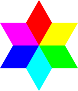 6 Color Diamond Hexagram Clip Art