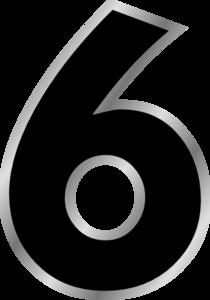 Number 6 Black Clipart #1