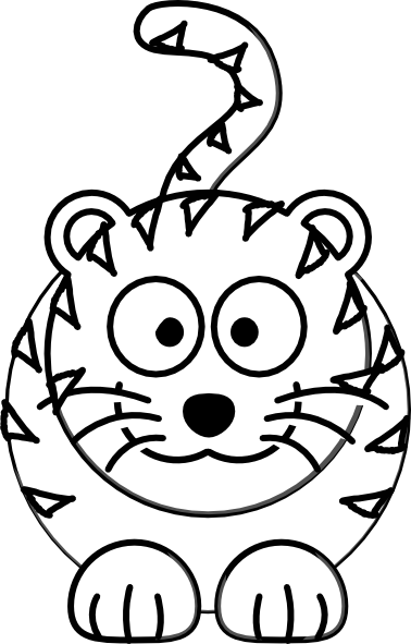 cartoon tiger outline clip art at clker com