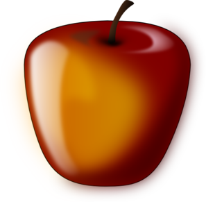 Red Shaded Apple Clip Art