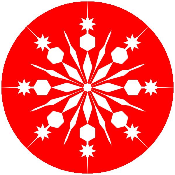 Snowflake-on-red1 Clip Art at Clker.com - vector clip art online ...