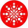 Snowflake-on-red1 Clip Art