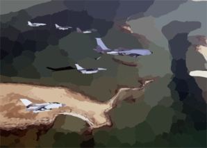 Aircraft Of The 379th Air Expeditionary Wing And Coalition Counterparts Stationed Together In A Deployed Location In Southwest Asia Fly Over The Desert 2 Clip Art