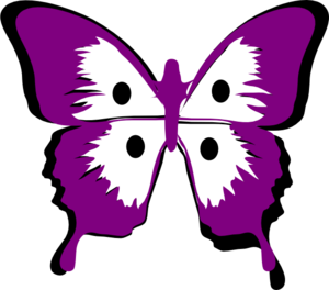 Purple/blk Butterfly With Dots Clip Art