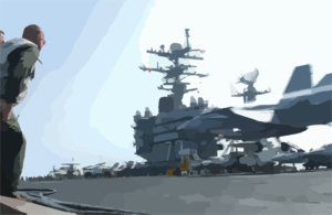 Air Wing Lso Monitors F/a-18 Carrier Landing. Clip Art