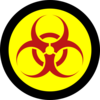 Red Biohazard On Yellow With Black Clip Art