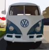 Blue White Vw Bus Straight On Clip Art