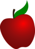 Red Apple With Leaf Clip Art