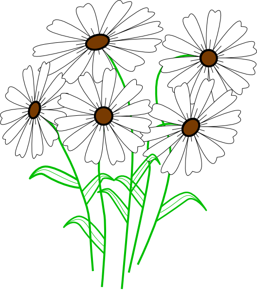 White Daisy Bunch Clip Art at Clker.com - vector clip art ...
