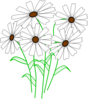 White Daisy Bunch Clip Art
