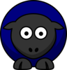 Sheep Looking Straight Dark Blue Clip Art