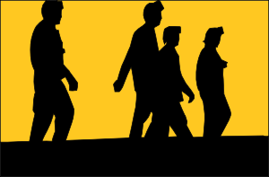 Silhouette Of People In Front Of Sunset Clip Art