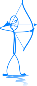 Blue Stickman Shooting Arrow Clip Art
