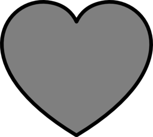 Solid Dark Gray Heart With Black Outline Clip Art