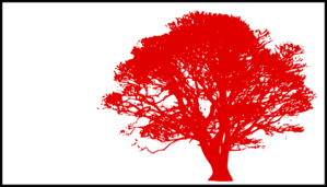 Tree, Dark Red Silhouette, White Background Clip Art
