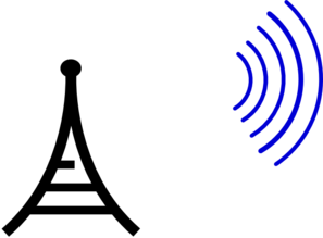 Radio Tower Separate Waves Clip Art