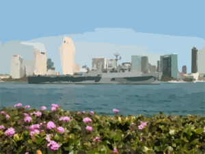 The Amphibious Transport Dock Uss Ogden (lpd 5) Sails Past Downtown San Diego, Calif. On Its Way To Loved Ones Waiting Pier Side At Naval Base San Diego. Clip Art