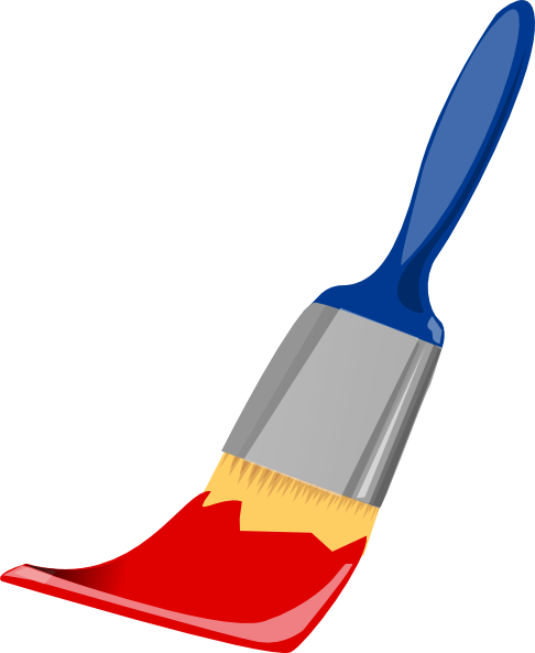 Paint Brush Blue And Red Clip Art - 37.0KB